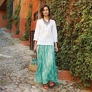Indian Block-print Travel Skirt