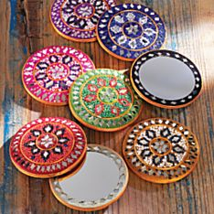 Set of Eight Rajasthani Sparkling Pocket Mirrors, Made in India