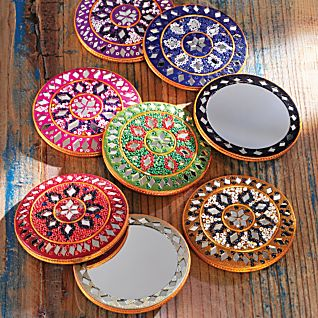 View Set of Eight Rajasthani Sparkling Pocket Mirrors image