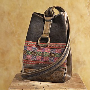 Bolivian Manta and Leather Backpack