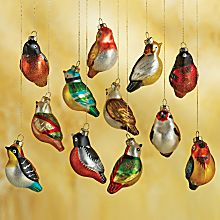 Set of 12 Blown-glass Chinese Songbirds