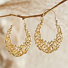Egyptian Arabesque Gold Earrings, Handmade in Cairo