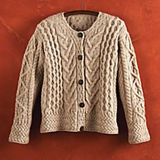 Womens Aran Wool Cardigan