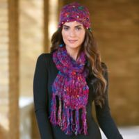 Sari Scarves - Silk Sari Knit Hat And Scarf Set