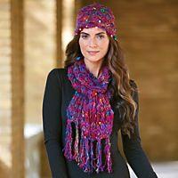 Silk Sari Knit Hat and Scarf Set
