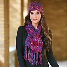 Silk Sari Knit Hat and Scarf Set, Handmade in Nepal