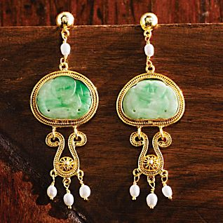 View Last Emperor Vintage Jade Earrings image