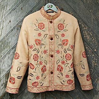 View Kashida Embroidered Linen Jacket image