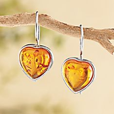 Eastern European Baltic Amber Heart Earrings