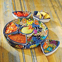 Mexican Talavera Salsera Serving Set
