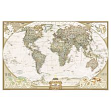 World Maps Gold Frame