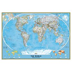 Map Wall World White Frame