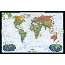 World Political Map (Bright-Colored), Mounted, 2007