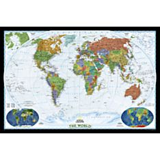 Black and White Framed Map of World