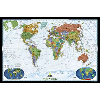View World Political Map (Bright-colored), Mounted image