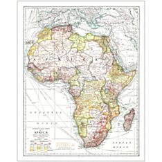 1909 Africa Wall Map, Laminated