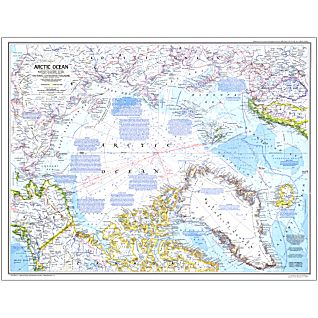 1983 Arctic Ocean Map, Laminated