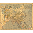 1933 Asia Map, Laminated