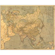 1933 Asia Wall Map, Laminated