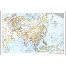 1942 Asia and Adjacent Areas Wall Map, Laminated