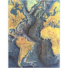 1968 Atlantic Ocean Floor Wall Map