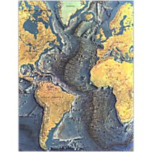 1968 Atlantic Ocean Floor Wall Map, Laminated