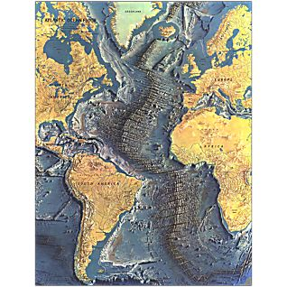 1968 Atlantic Ocean Floor Map, Laminated