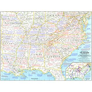 View 1961 Battlefields of The Civil War Map image