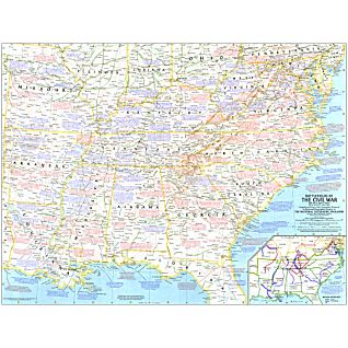 1961 Battlefields of The Civil War Map, Laminated