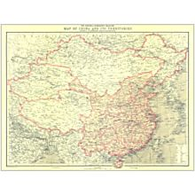1912 China and Its Territories Wall Map, Laminated