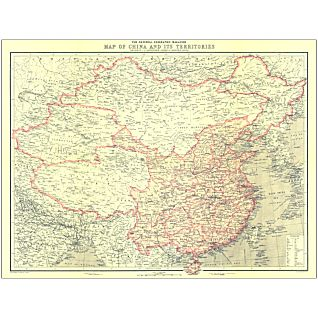 View 1912 China and Its Territories Map, Laminated image