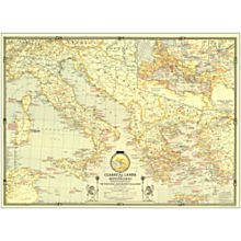 1940 Classical Lands of the Mediterranean Wall Map