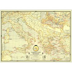 1940 Classical Lands of the Mediterranean Wall Map, Laminated