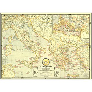 View 1940 Classical Lands of the Mediterranean Map, Laminated image