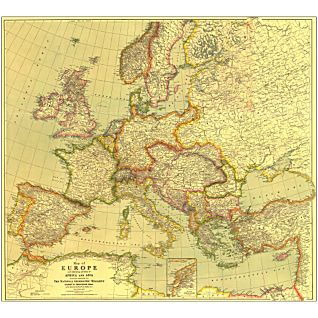 1915 Europe Map, with Africa and Asia