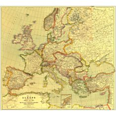 1915 Europe Wall Map, with Africa and Asia, Laminated