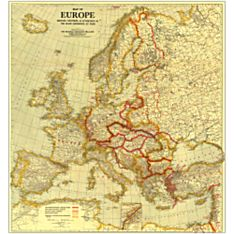 1921 Europe Wall Map, Laminated