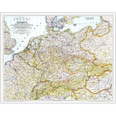 1938-39 Germany and Its Approaches Wall Map, Laminated