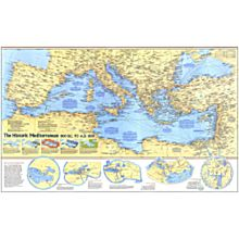 Historic Mediterranean, 800 BC to AD 1500 Wall Map, Laminated