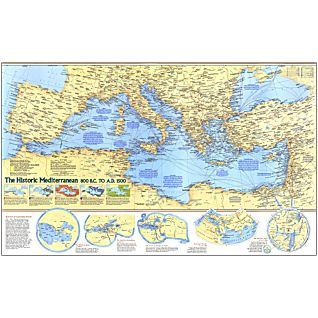 Historic Mediterranean, 800 BC to AD 1500 Map, Laminated