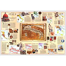 1995 Historical Italy Wall Map, Laminated