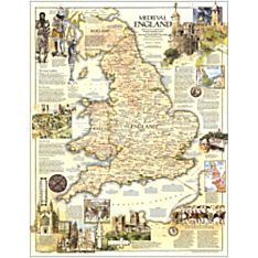 1979 Medieval England Wall Map, Laminated