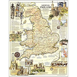 1979 Medieval England Map, Laminated