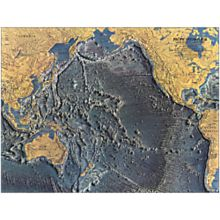 1969 Pacific Ocean Floor Wall Map, Laminated