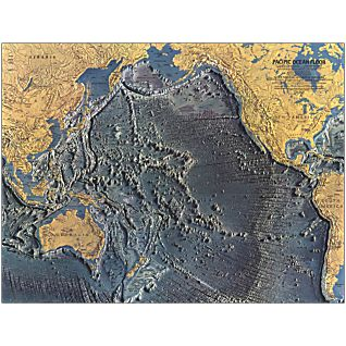 1969 Pacific Ocean Floor Map, Laminated