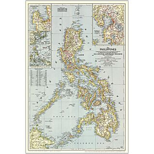 1945 Philippines Map, Laminated