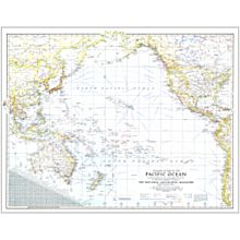 1942 Theater of War in the Pacific Ocean Wall Map, Laminated