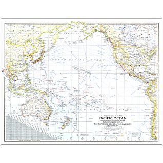View 1942 Theater of War in the Pacific Ocean Map, Laminated image