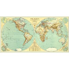 1935 World Wall Map, Laminated
