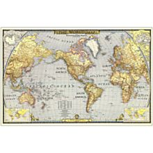 1943 World Wall Map, Laminated